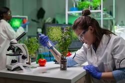 Biochemist scientific taking green liquid with micropieptte puttin on sapling observing genetic mutation typing biochemistry expertise on computer. Biologist woman working in biochemistry laboratory.