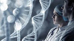 Biochemistry scientists at work . Mixed media