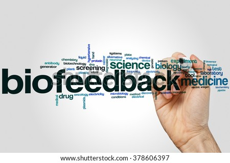 Biofeedback word cloud concept with medicine science related tags