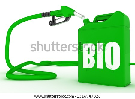 Biofuel. Gas pump nozzle and jerrycan. 3D rendering illustration