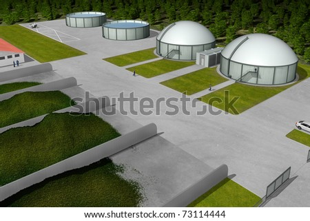 Biogas plant from aerial perspective