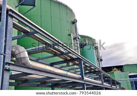 Biogas plant. Wastes recycling ecology concept. Green economics.