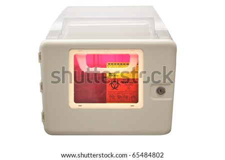 Biohazard sharps and needle disposal box isolated on a white background