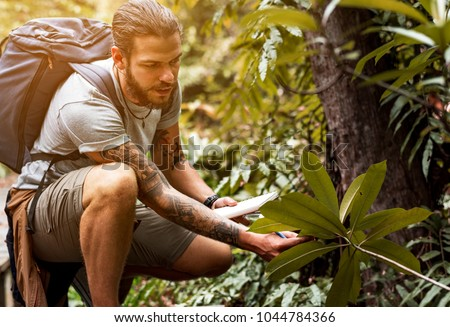 Biologist in a forest Photo stock ©