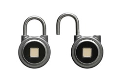 Biometric Fingerprint Padlock in two conditions - locked and unlocked in clipart