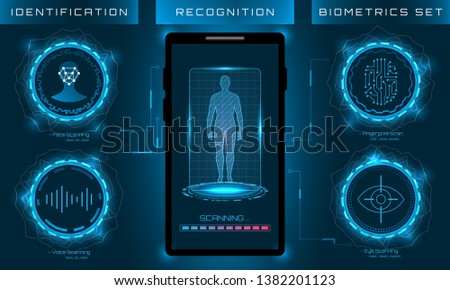 Biometric Identification Personality, Scanning Modern Access Control, Technology Recognition (Authentication) System Concept - Illustration raster