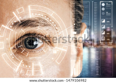 Biometrics and scanning concept with grey eye man and cyberspace screen with digital data at blurry city background. Double exposure.