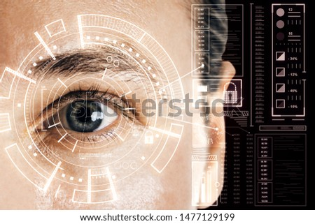 Biometrics and scanning concept with grey eye man and cyberspace screen with digital data. Double exposure.