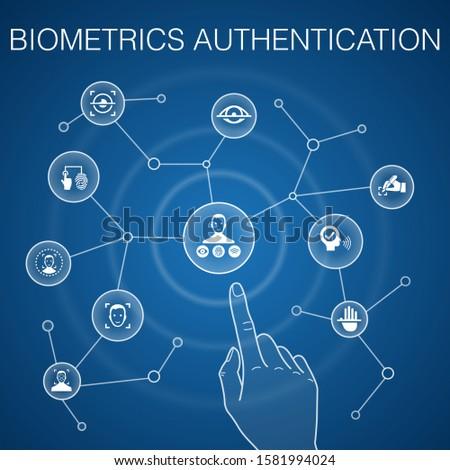 Biometrics authentication concept, blue background. facial recognition, face detection, fingerprint identification, palm recognition icons