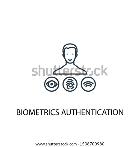 Biometrics authentication concept line icon. Simple element illustration. Biometrics authentication concept outline symbol design. Can be used for web and mobile UI/UX