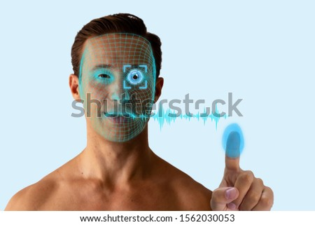 biometrics concept, the identity person use artificial intelligence, machine learning, deep learning with facial recognition, iris scanning, fingerprint identification, voice verification technology