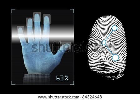Biometrics hand scanning with fingerprints analyzing