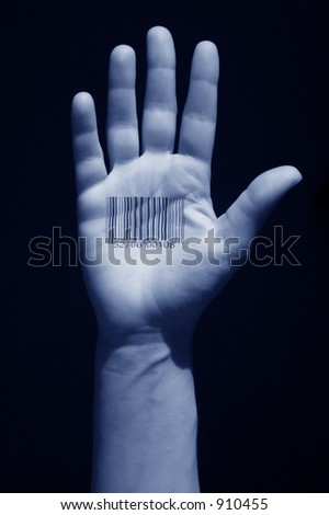 hand with barcode tattoo on