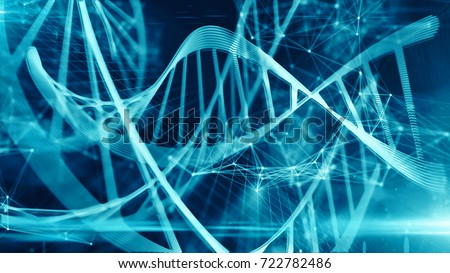 Biotech genetics and DNA double helix nucleic acids modification chemistry of organic molecules for stem cell medical research conceptual graphic
