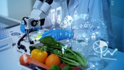 Biotechnology concept. Food tech. Nutritional science.