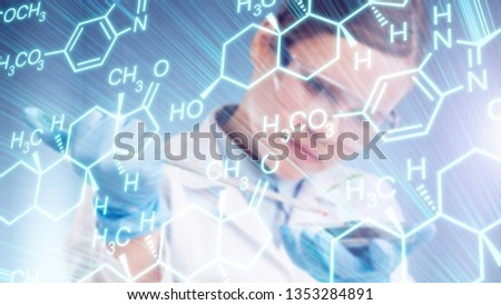Biotechnology researcher concept or biotech science, close up of biologist doing experiment.
