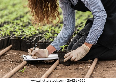 Biotechnology woman engineer with a clipboard and pen examining a plant  for disease!