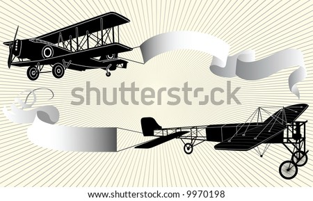 Biplane pulling a blank banner. Airplane with ribbon, illustration.