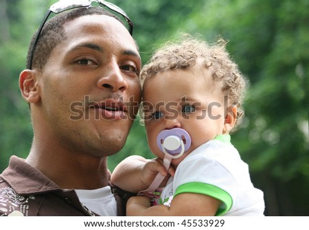 Biracial Family African American Man and Child