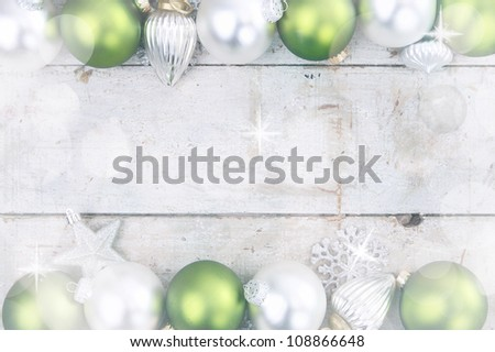 Birch Frame with Christmas Ornaments