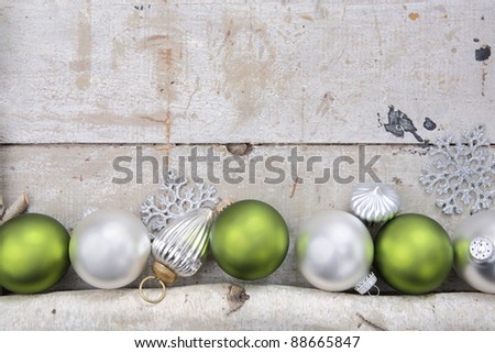 birch log with christmas...