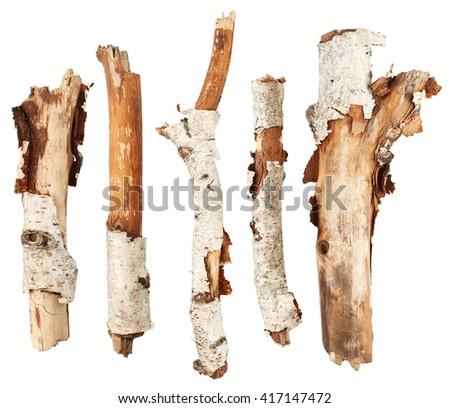 Birch tree sticks isolated on white background