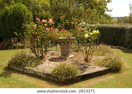 bird-bath and flower garden