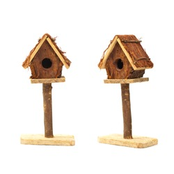 Bird Box - Bird House Nest Box Decorative Item Isolated on white background. Selective focus.
