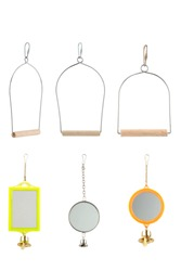 bird cage accessories  isolated on white.