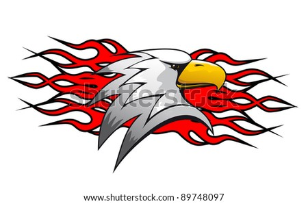 Bird cartoon mascot with red flames for tattoo design. Vector version also available in gallery