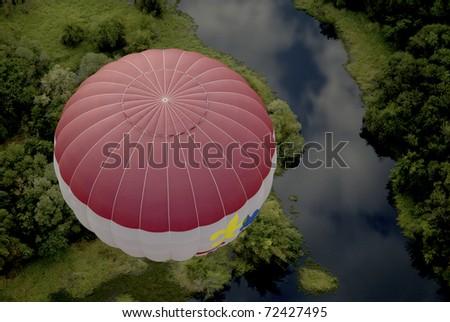 bird eye view at hot air balloon in Thailand.