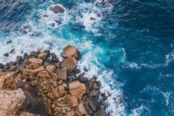 Bird eye view Atlantic ocean Portugal Peniche surfing beach Beleal rocks and cliffs
