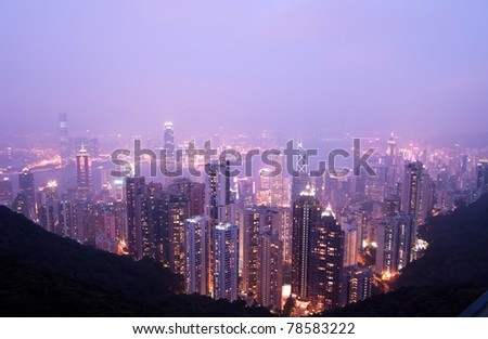 Bird eye view from the Peak  twilight light from building
