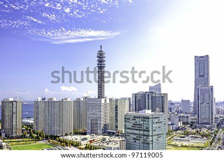 bird eye view in Yokohama, Japan