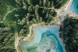 Bird-eye-view of a beautiful mountain lake