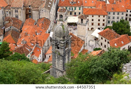 Bird-eye view of buildings in Kotor old town, Montenegro - stock photo