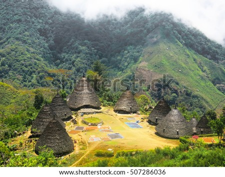 Shutterstock Bird eye view of indigenous conical huts in Wae Rebo Village, Flores Island, Indonesia
