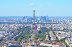 Bird eye view of Paris on a bright summer day