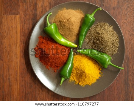 Bird eye view of spices used in hindu cuisine