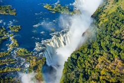 Bird eye view of the Victoria falls waterfall on Zambezi river