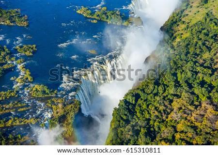 Bird eye view of the Victoria falls waterfall on Zambezi river ストックフォト ©