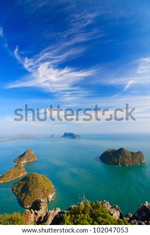 Bird eye view, The beauiful sea scape, Phrajoupkirikun, Thailand