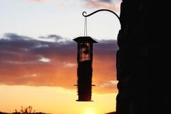 Bird feeder over the golden sunset