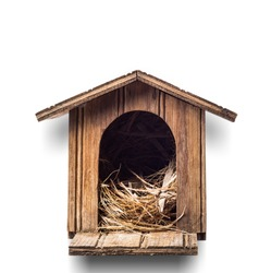 Bird house isolated with clipping path