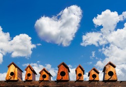 bird house nesting on blue sky with cloud background