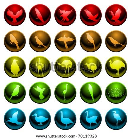Bird icons - raster