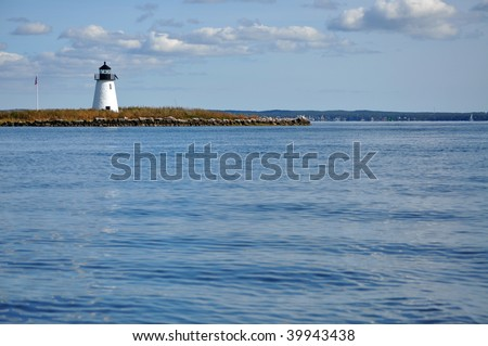 Bird Island Lighthouse, Buzzards Bay, MA - stock photo