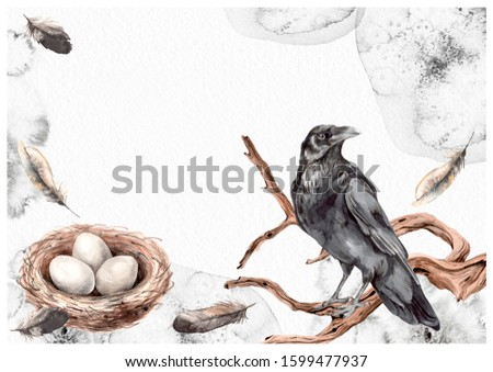 Bird nest, black raven, wood snags, feathers. Watercolor ink splotches illustration greeting frame card. Your text empty space.