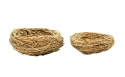 Bird nest isolated on white background. Side view of two size empty bird nest. A bird nest is the spot in which a bird lays, incubates its eggs and raises its young.