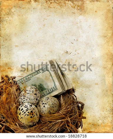 Bird nest with eggs and money on a grunge background with copy-space for your text.